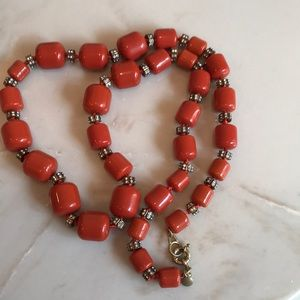 J. Crew bead and crystal necklace -Orange!
